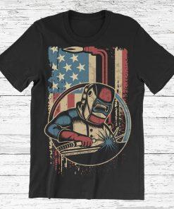 Weld Vintage American Flag Welding Welder Welders Gift T-Shirt, Best Welding, Welds Birthday Present, Unique Gifts For Welders Work Shirt