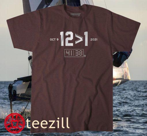 12 > 1 College Station TX Football Tee Shirt