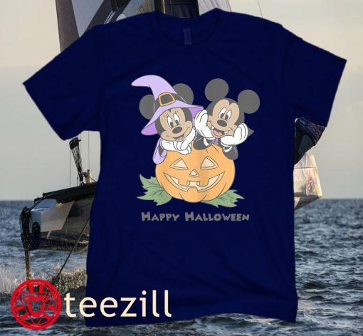 Disney Mickey And Friends Halloween Pumpkin Mickey & Minnie Classic T-Shirts