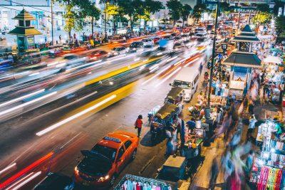 Bangkok busy street view