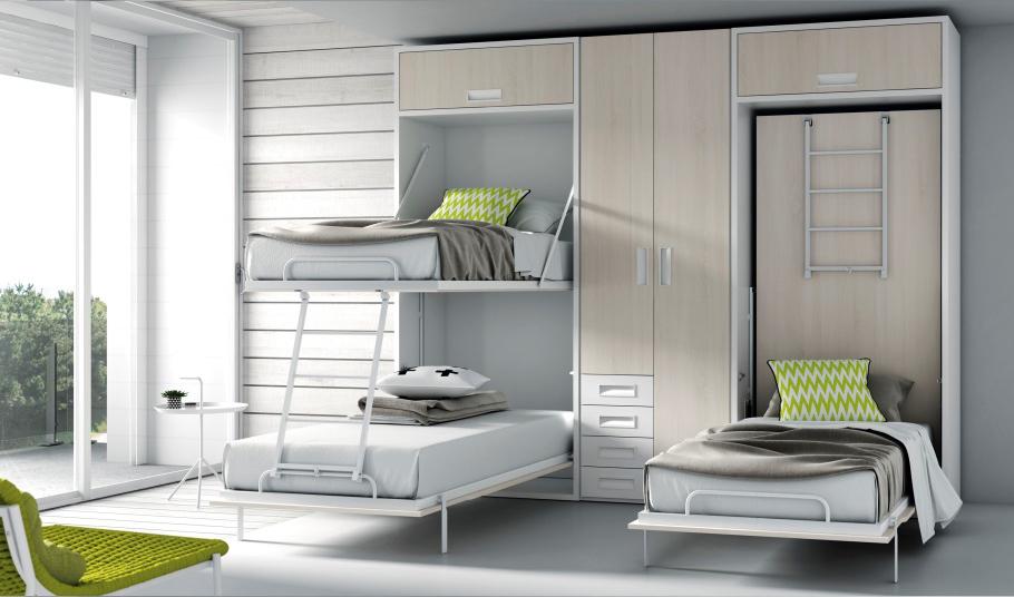 Camas con sistemas abatibles - Literas con sofa cama ...