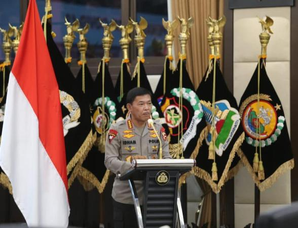 Kapolri Jenderal Idham Azis saat menyampaikan sambutannya