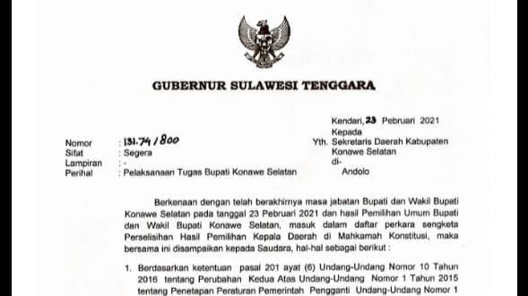 Surat Gubernur Sultra terkait pelaksanaan tugas Bupati Konsel
