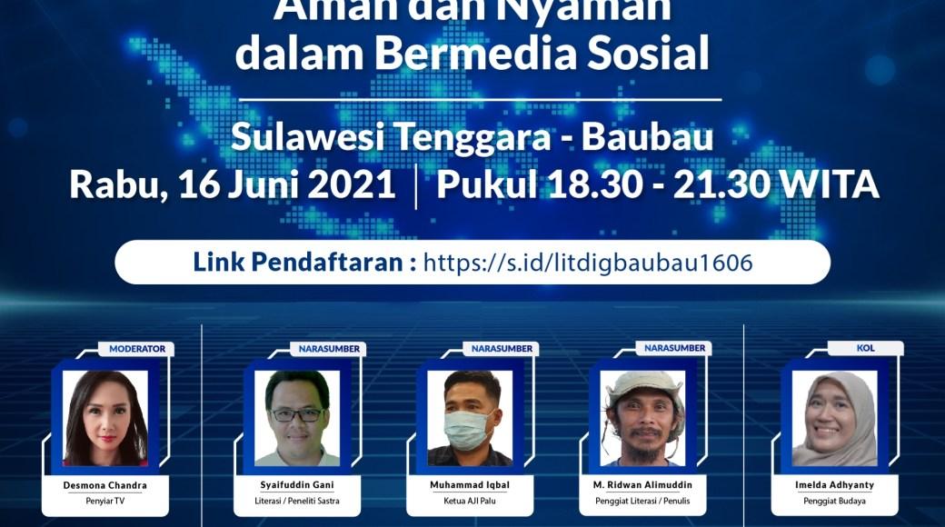 """Webinar Literasi Digital """"Indonesia Makin Cakap Digital"""" di Sulawesi yang diselenggarakan oleh Kementerian Komunikasi dan Informatika Republik Indonesia dan Siber Kreasi bersama Dyandra Promosindo, dilaksanakan secara virtual, Rabu (16/6/2021)"""