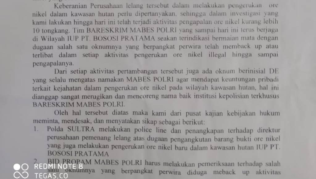 Institusi Perwira Bareskrim Mabes Polri Dicatut Bekingi Tambang di Sultra