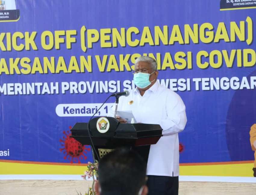 Gubernur Sultra Ali Mazi, saat menyampaikan sambutannya
