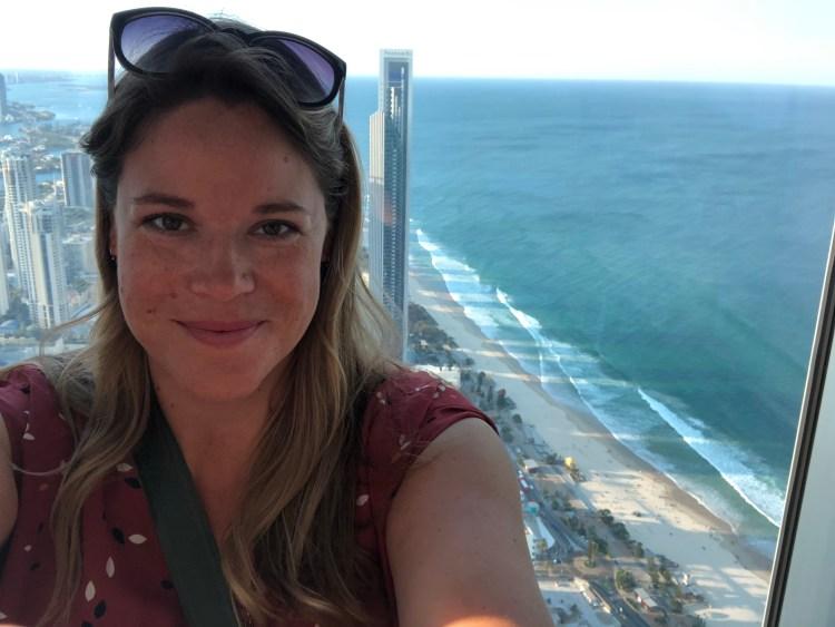 woman in sky deck