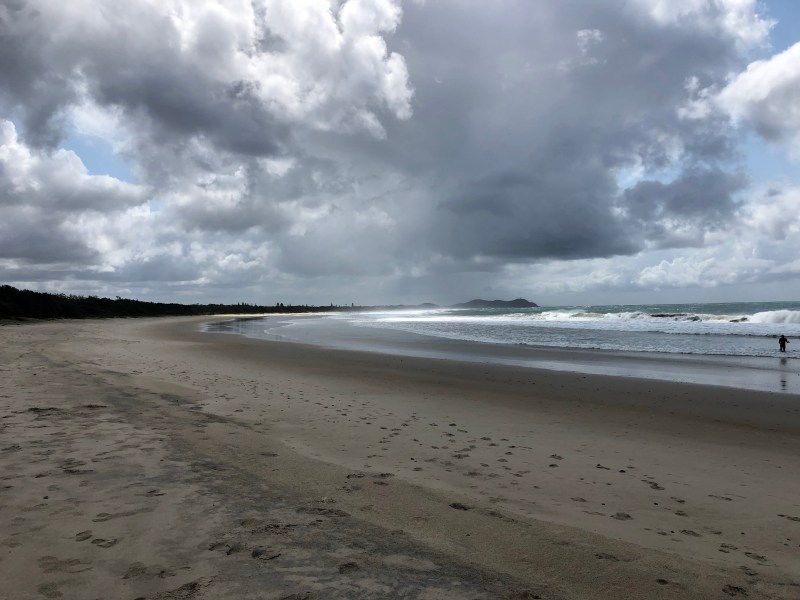 Beach with storm clouds