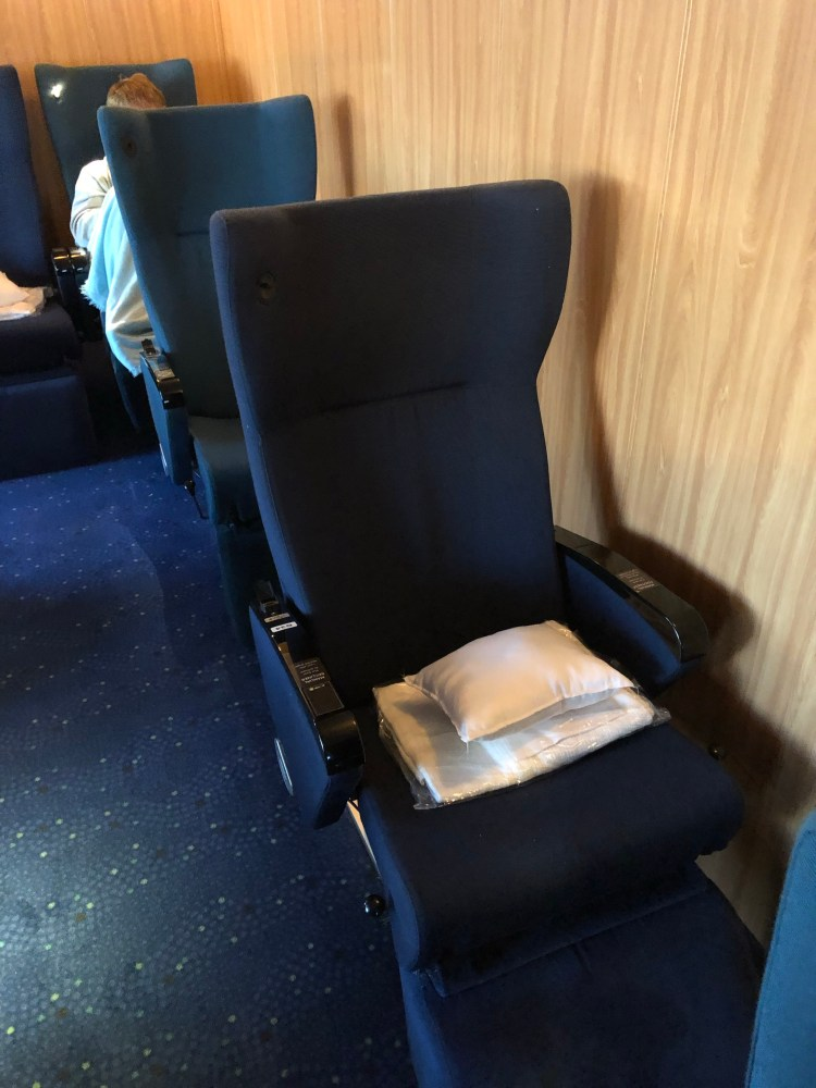Recliner chair on ferry