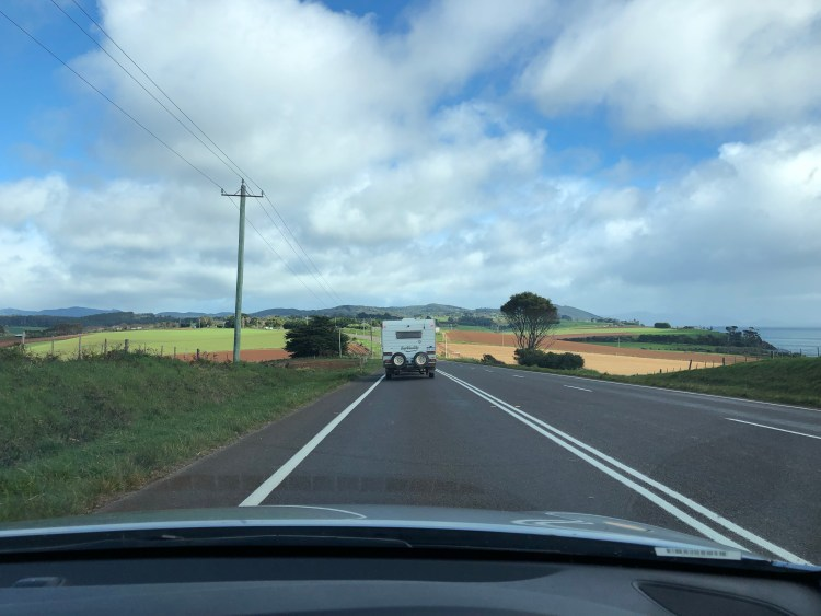 RV driving on country road