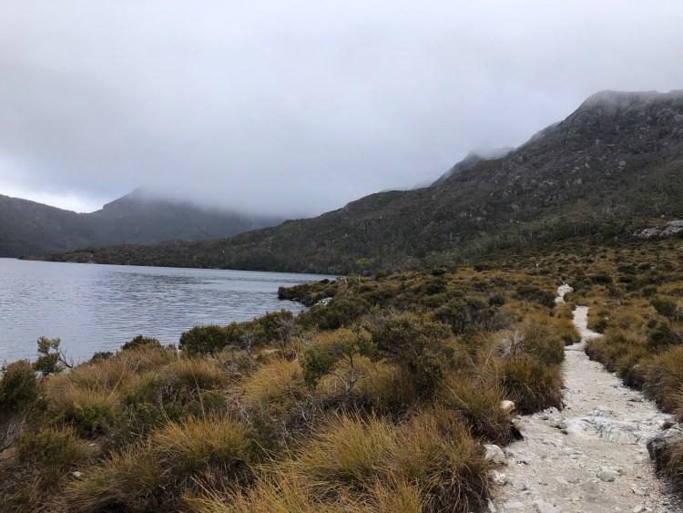 lake, hiking trail, mountain