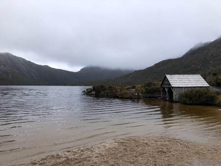 lake with boathouse