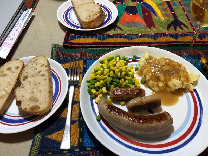 sausage, veggies, mashed potatoes