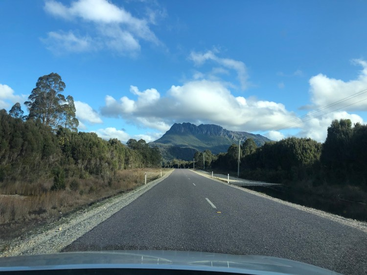 Road with mountain in background