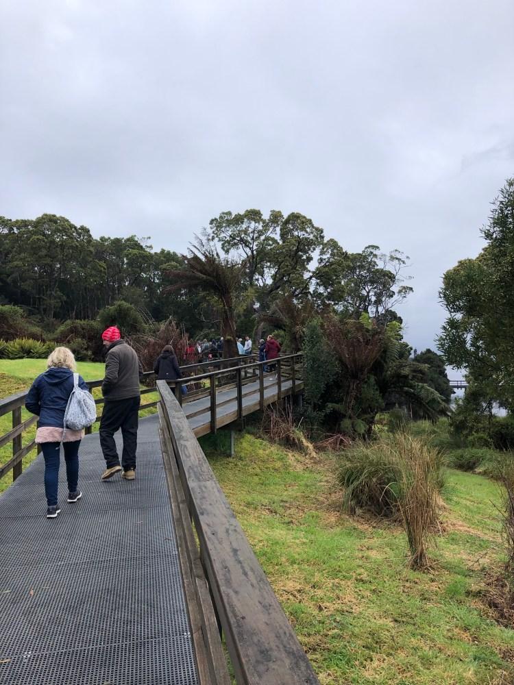 People on boardwalk on sarah island
