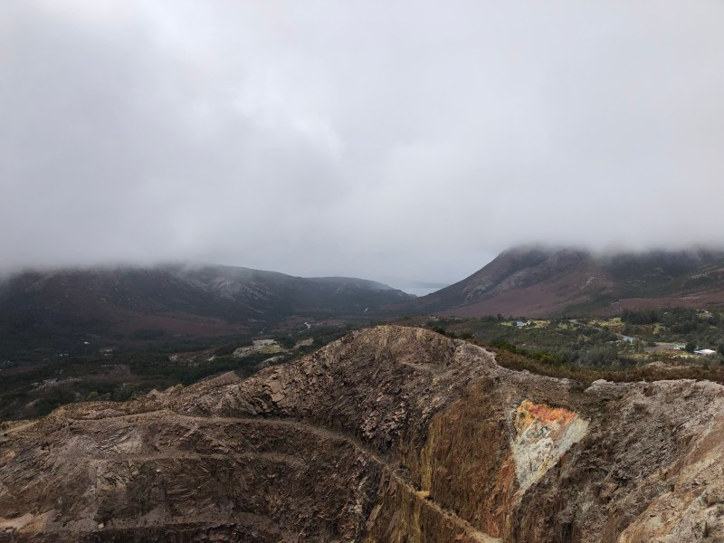 old mine with clouds