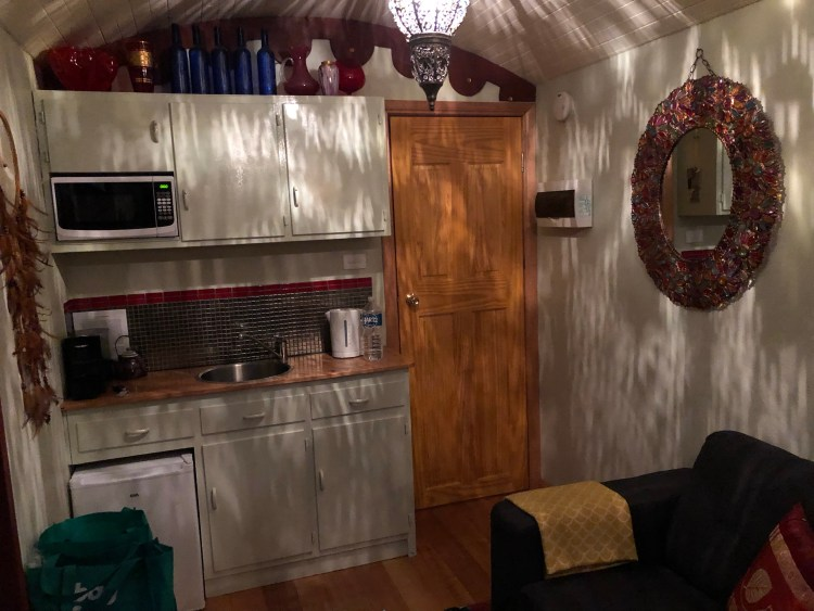 kitchenette in converted truck