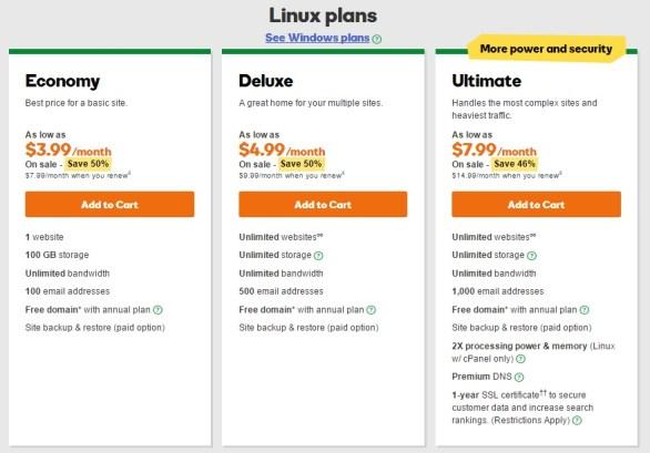 Godaddy web hosting untuk wordpress murah linux plans