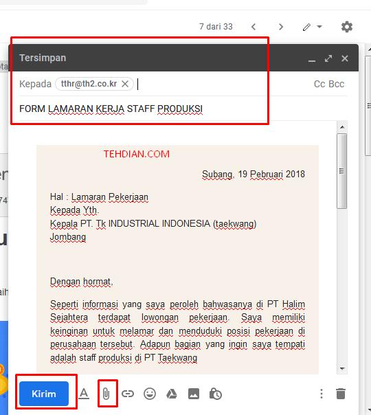 Cara Mengirimkan Lamaran Via email di taekwang