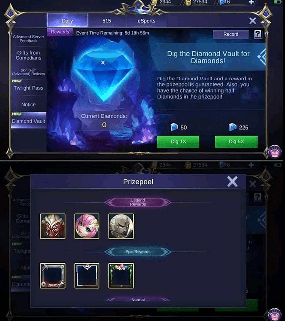 Diamond vault mobile legends