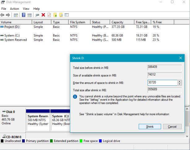 shrink disk management