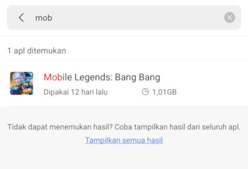Mencari aplikasi mobile legends untuk clear data