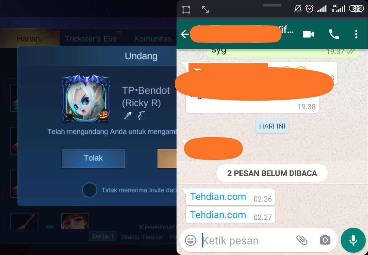 Minimize chat WhatsApp saat bermain game