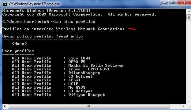 mencari password wifi menggunakan CMD