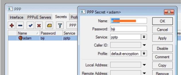 menamai server ppp