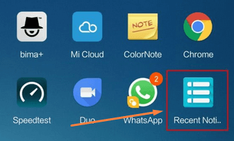 membuka menu dan cari aplikasi recent notification