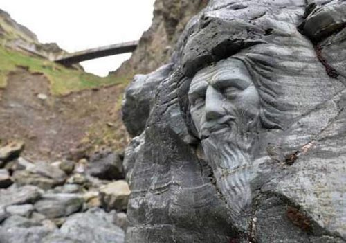 Merlin carving created in 2016 as part of new interpretation at Tintagel