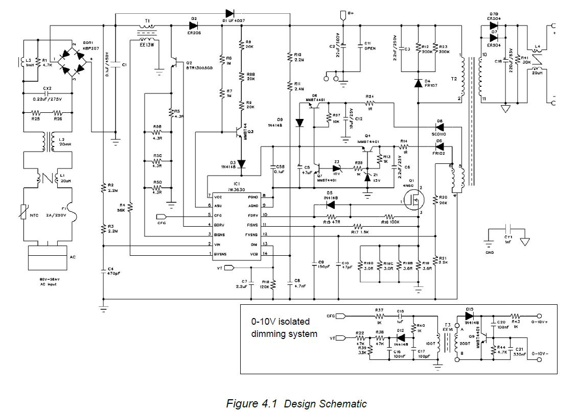 AC 230V LED Driver Dimmer circuit diagram 0-10V or Wireless isolated