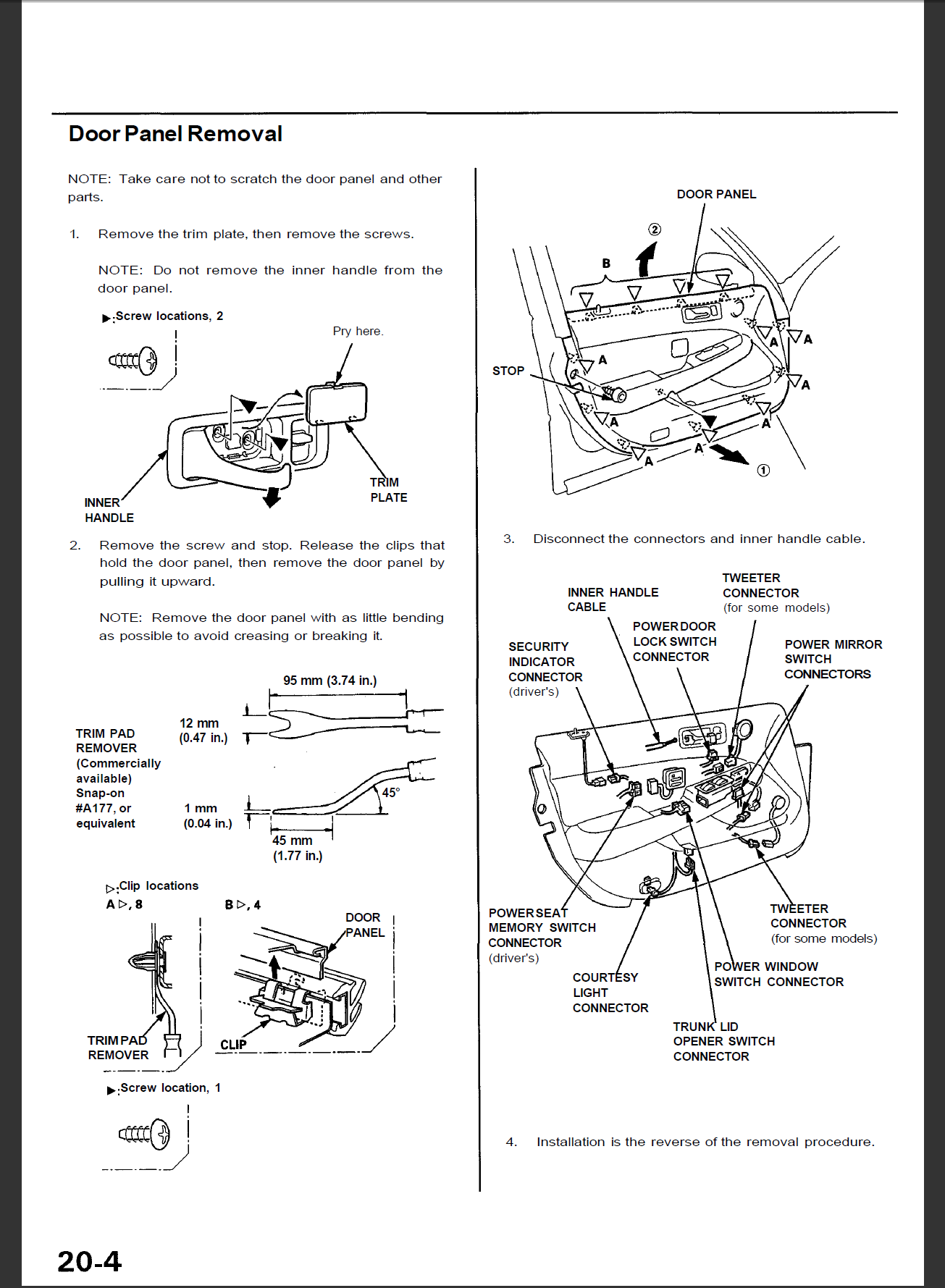 Service Manual Remove Door Panel Acura Mdx