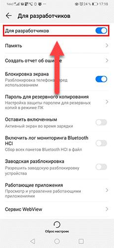 Mode activé pour les développeurs Android