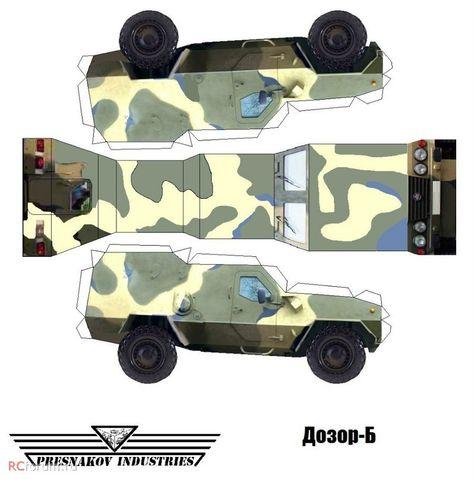 развертки бумажной модели Джип военный