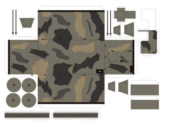 Чертежи и развертки военного грузовика  МАН