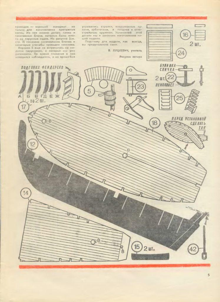 Чертеж модели корабля-каравеллы из бумаги