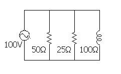 電工2種計算問題の交流回路図。