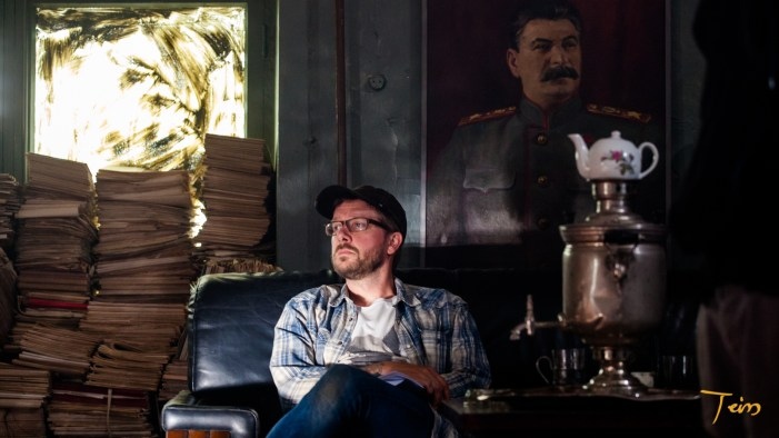 AJ at the set with comrade Stalin