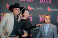 Univision Radio's Jesse Lechuga, La Chamaca & Baby J at 2015 Tejano Music Awards Purple Carpet (Photo by Ryan Bazan / Tejano Nation)