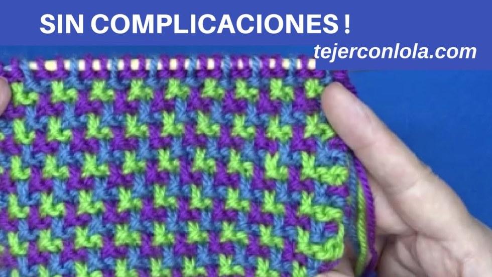 punto tricolor sin complicaciones a dos agujas