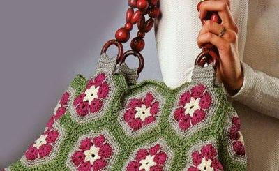 Bolso crochet flor africana
