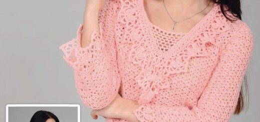 Chaleco en crochet manga larga