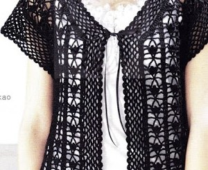 Blusa crochet abierta manga corta