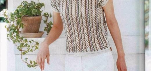 Blusa ganchillo manga corta con puntada
