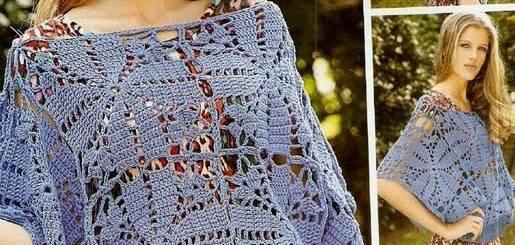 Chaleco crochet cuello bote manga ancha
