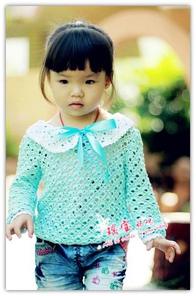 Esquema blusa de niña crochet