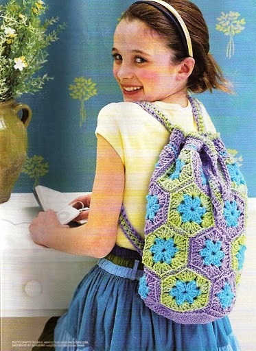 Mochila crochet para niñas
