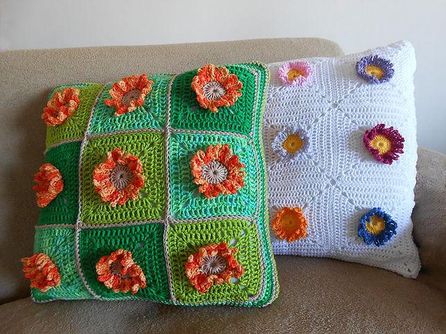 Almohada girasol crochet con patrones