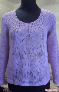 Blusa crochet filet manga larga
